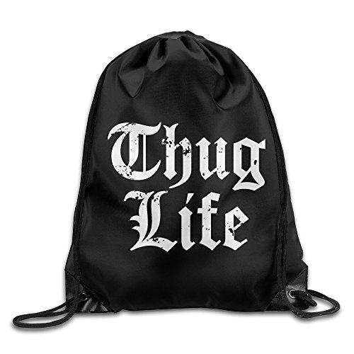 MGTER66 Backpack Gymsack Sack Pack Thug Life Logo White