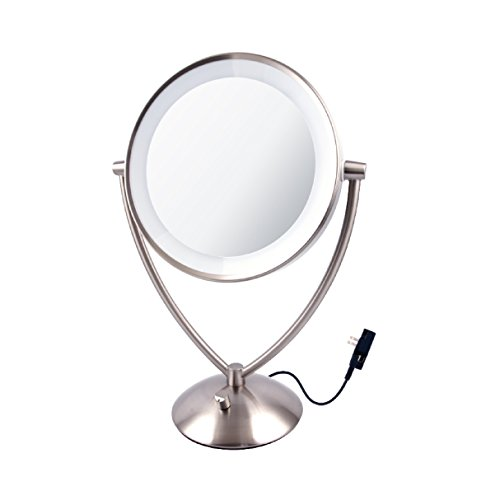 ovente led lighted tabletop makeup mirror 1x 10x magnification 9 5. Black Bedroom Furniture Sets. Home Design Ideas