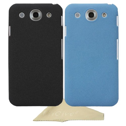 EnGive 2 in 1 Set Slim Snap-on Fit Matte Quicksand Hard Cover Case Shell for LG Optimus G Pro with Cleaning Cloth (Black/Blue)