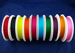 10 Rolls x 10 Metres Beading Stretch Elastic Cord 0.8mm. 10 Colours. Jewellery Making / Sewing / Crafts etc.