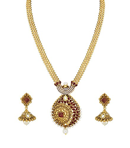 Zaveri Pearls Gold Non-Precious Metal Pendant Necklace With Jhumki Earring For Women&Girls