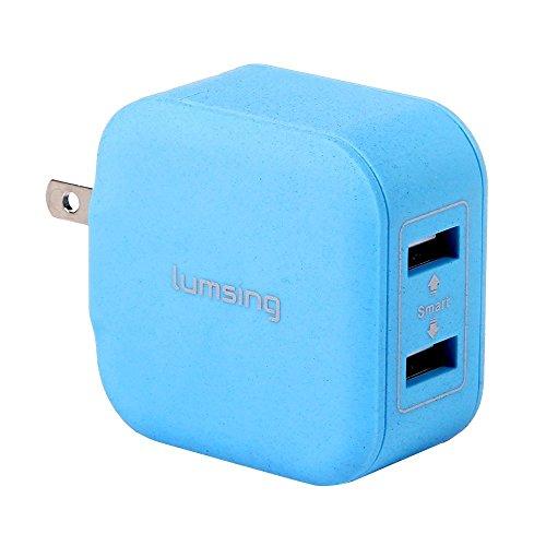 Lumsing USB急速充電器 12W 2ポート ACチャージャー 超小型 折りたたみ式  各種 スマホ / タブレット / wi-fiルーター 等対応 持ち運び安い ブルー