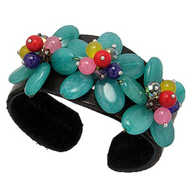 Gemstone Bangle Cuff, Flower, Green Agate, Jade, Crystal Glass, Coral, Amethyst, complete with a gift box.