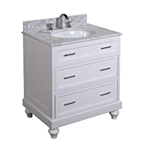 Amelia 30-inch Bathroom Vanity (Carrara/White): Includes a ...