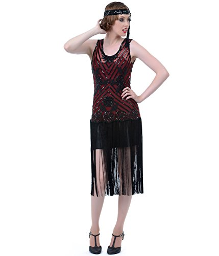 Unique Vintage 1920s Style Black & Red Beaded Rosalie Flapper Dress