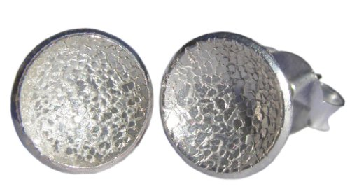 Handmade 925 Sterling Silver Textured Disc Stud Earrings - FREE Delivery in UK Gift Wrapped - Gifts