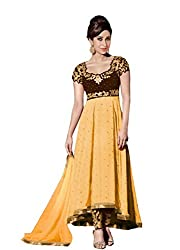 VIHA Yellow Embroidered Georgette Unstitched Dress Materials