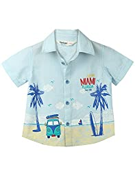Beebay Infant-boy 100% Cotton Woven Miami Print Stripe Shirt (C4916109203423_Light Blue_0-3 Months)