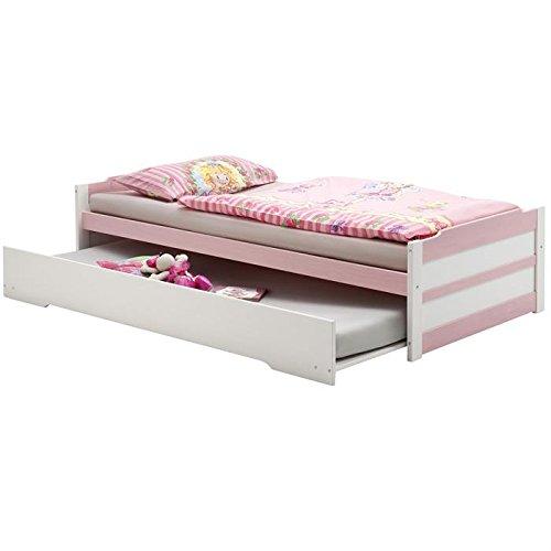 Lit gigogne lit fonctionnel tiroir-lit LORENA 90 x 200 cm lasuré blanc rose