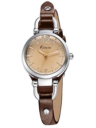 Alienwork Quarz Armbanduhr Armreif Kette wickeln Quarzuhr Uhr vintage elegant braun Leder YH.KW545S-03