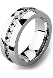 Men's Wide 8mm Stainless Steel Eternity Rings Band CZ Silver Wedding Charm Elegant