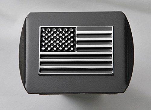 "New USA US American Flag 3d Chrome Emblem Trailer Metal Hitch Cover Fits 2"" Receivers (Black &a..."