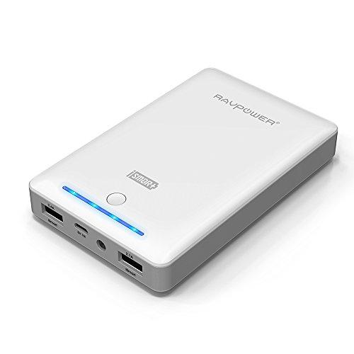 RAVPower第三世代 Deluxe iSmart機能搭載15000mAh大容量モバイルバッテリー /スマホ急速充電器 1年間の安心保証2USBポート 急速充電可能iPhone6plus/65S/ 5C/ 5/ 4S・iPad (ホワイト)