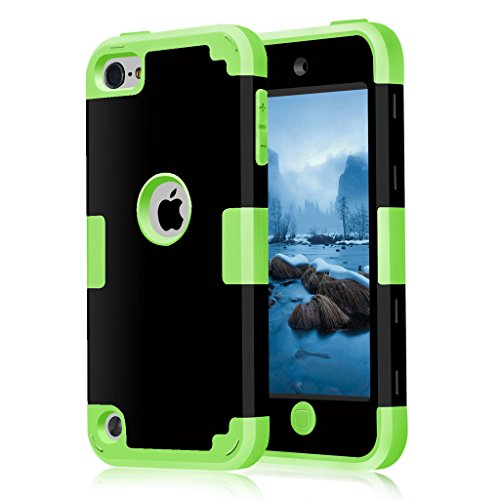 iPod 5 / 6 Case, HOcase Black Series, Hybrid Plastic Silicone Shockproof Protective Case Cover for iPod touch 5th / 6th Generation - Black / Lawn Green (Ipod Model A1421 compare prices)