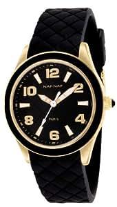 Naf Naf - N10019-103 - Monna - Montre Femme - Quartz Analogique - Cadran Noir - Bracelet Caoutchouc Noir