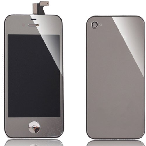 Iphone 4 Front Glass Digitizer, Lcd, Back Cover Assembly, Home Button And Oem Proximity Sensor Conversion Kit(For Iphone 4 At&T/Gsm Only) - Plated Mirrored Silver