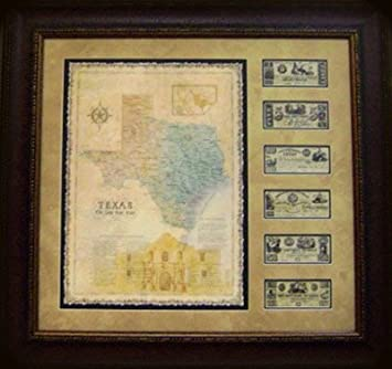 Amazon.com: Alamo Map With Reproduction Texas Currency - Framed ...