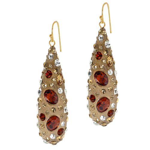 Stunning Resin With Multi Color Pave Crystals Wire Drop Earrings