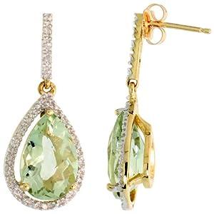 10k Gold Teardrop Earrings w/ Brilliant Cut Diamonds & Pear Cut (12x8mm) Green Amethyst Stone