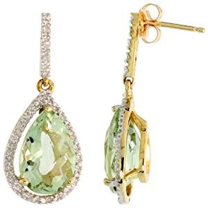 10K Gold Teardrop Earrings w/ Diamonds and Green Amethyst Stone