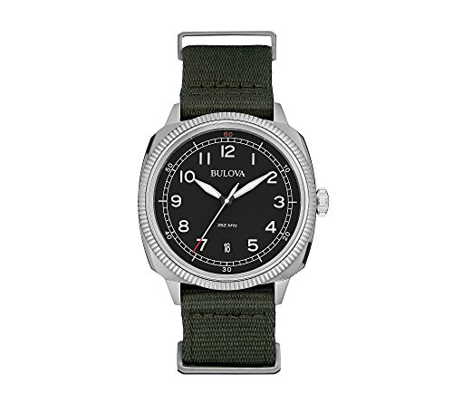 Bulova-Mens-Black-Dial-Watch-With-Green-Strap