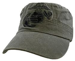 U.S. Globe Anchor USMC Embroidered Hat - Adjustable Buckle Closure Cadet Officer Cap