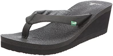 Sanuk Women's Yoga Mat Wedge Flip Flop Sandal,Black,5 M US