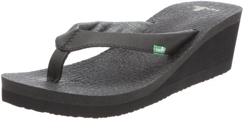 Sanuk Women's Yoga Mat Wedge Flip Flop Sandal,Black,8 M US