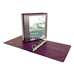 Wilson Jones Premium Single-Touch Locking D-Ring View Binder, 1.5 Inch, Customizable, Eggplant (W86677PP)