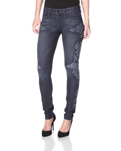 SOLD Design Lab Women's Soho Super Skinny Embroidered Jean  - Medium Wash