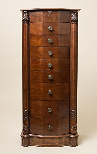 Hives and Honey Large Floor Standing 8 Drawer Wooden Jewelry Armoire with Mirror & Lock, Walnut Finish