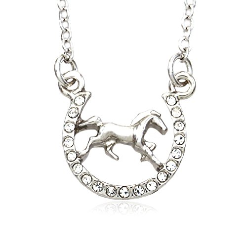 Horse Mustang Pony Horseshoe Necklace Pendant Lucky Charm Western Cowboy Cowgirl