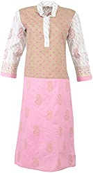 ALMAS Lucknow Chikan Women's Cotton Regular Fit Kurti (Pink, White and Skin Color)