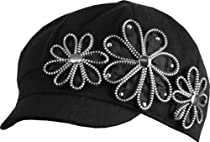 EH1341BC - Womens Wool Blend Newsboy / Cabbie Winter Hat / Cap with Zipper Flowers Accent - Black/One Size