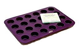 Premium 24 Cup Mini Muffin Pan (Deep Plum) Non Stick Bakeware with BONUS RECIPE E-BOOKLET- 100% Silicone Baking Molds for All Recipes - Durable Mini Cake Pans/ Tart Pans/ Quiche Pans - Microwave and Oven Safe up to 450 deg F. LIFETIME Guarantee!