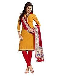Varanga Yellow Embroidered Dress Material with Matching Dupatta KF7AKS13015