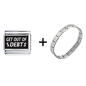 Get Out Of Debt Laser Italian Charm Bracelet