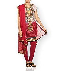Unnati Silks Women Semi stitched grey-maroon tussar silk salwar kameez dress material
