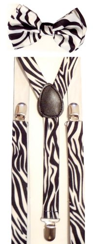 Men's Unisex Awesome ZEBRA B/W Print Suspenders And Matching Bow tie Set - Adjustable