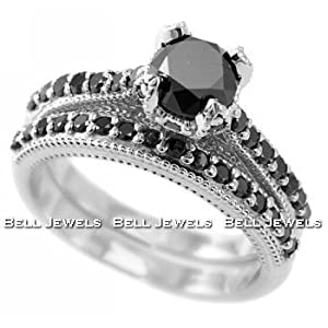 Click to buy Fancy Black Diamond Engagement Ring/Wedding Band Set 14k White Gold from Amazon!