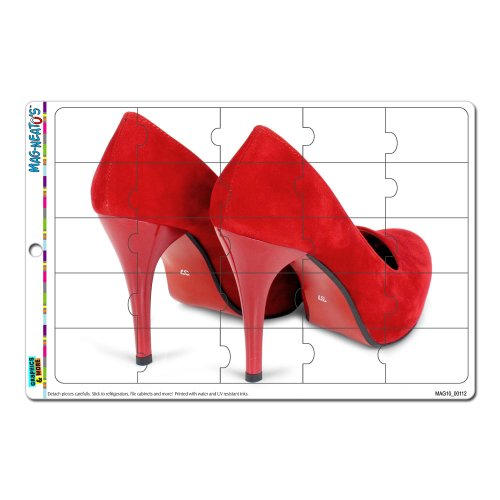 Graphics And More Red Shoes Heels Pumps Mag-Neato'S Novelty Gift Locker Refrigerator Vinyl Puzzle Magnet Set front-618506