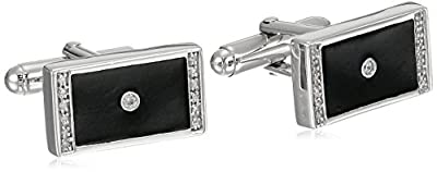 Men's Sterling Silver Enamel Rectangular Diamond Cuff Links (1/10 cttw, I-J Color, I2-I3 Clarity)