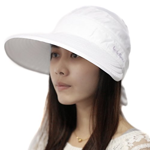 Sealike Chic Butterfly Sun Hat Wide Brim Summer Sun Visor Floppy Fold Beach Hat for Women Girls with Stylus White (Sun Visor Butterflies compare prices)
