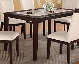 Marble Top And Espresso Solid Wood Dining Table By Poundex Tables