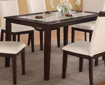 Marvelous Casual Cream Faux Marble Top and Espresso Solid Wood Dining Table by Poundex