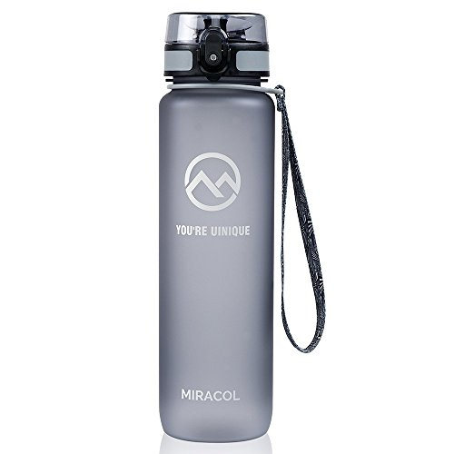 Miracol Sports Water Bottle, 32oz Large - Eco-Friendly Tritan Co-Polyester Plastic - with Flip Top Lid & Adjustable Strap - BPA Free - Best for Gym, Cycling, Camping, Running (Large Sports Bottle compare prices)