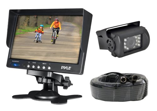 Pyle PLCMTR71 Weatherproof Rearview Backup Camera System Kit with 7'' LCD Color Monitor, IR Night Vision Camera, Dual DC Voltage 12-24 for Bus, Truck, Trailer, Van (Wired Backup Camera compare prices)