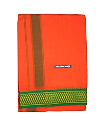 JIS Boutique men's cotton Color Dhoti - 2 Mtr (JIS DHOTI 03_Orange)