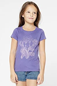 Girl's Short Sleeve Jungle Print Graphic T-Shirt
