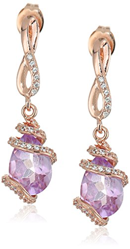 Rose Gold Plated Sterling Silver Pear Shaped Pink Amethyst 10x7x5.5mm and Created White Sapphire Drop Earrings